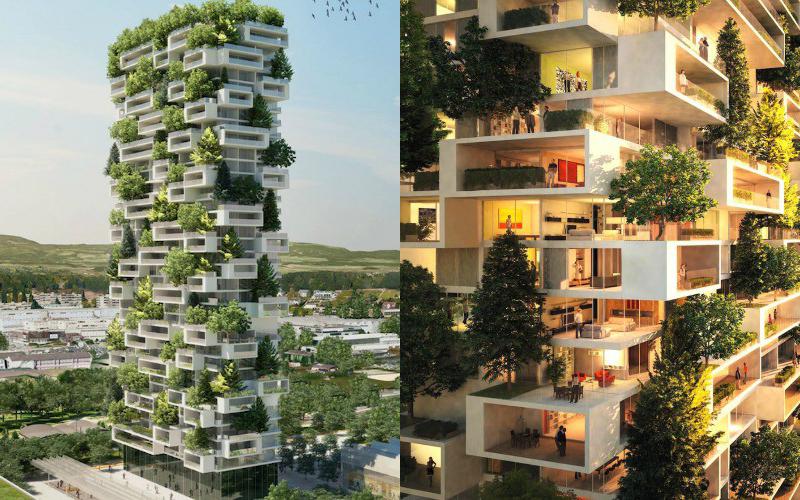 edifícios sustentáveis verdes com jardim vertical