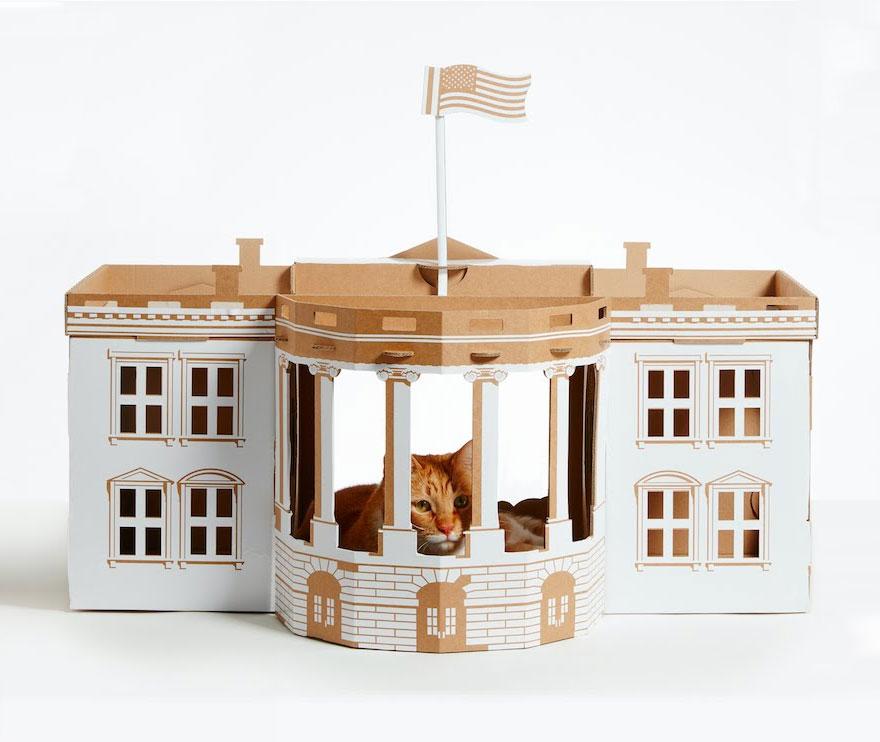 Empresa cria casas de papel o para gatos inspiradas em cones da arquitetura blog da arquitetura - Casas para gatos baratas ...