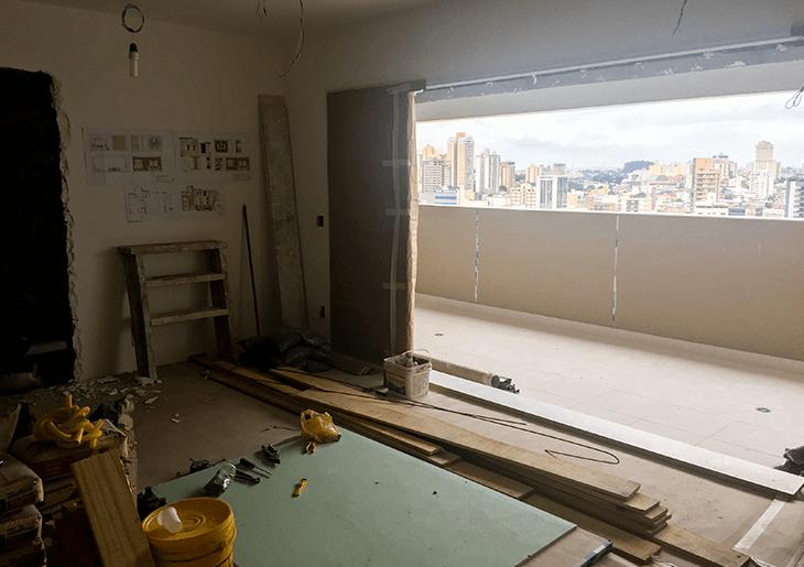Etapa de demolição em uma reforma