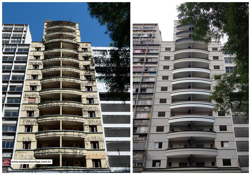 Imagem comparando um edifício antes e depois do retrofit