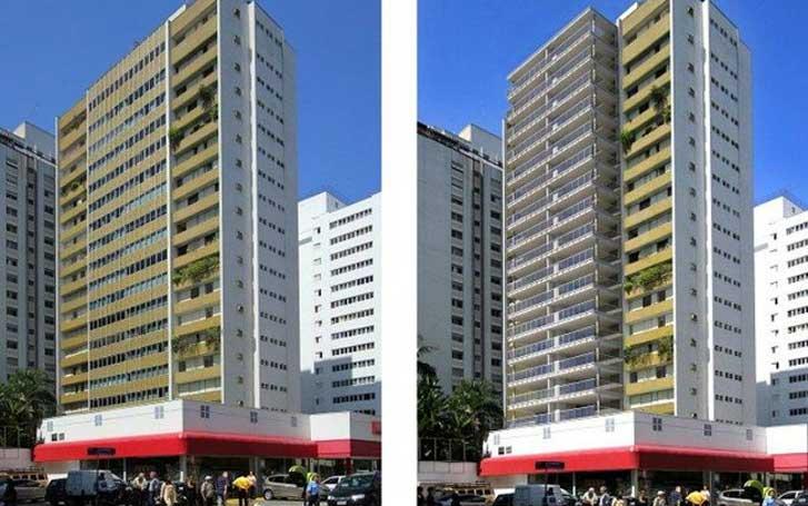 Imagem de projeto de retrofit, edifício antes e depois