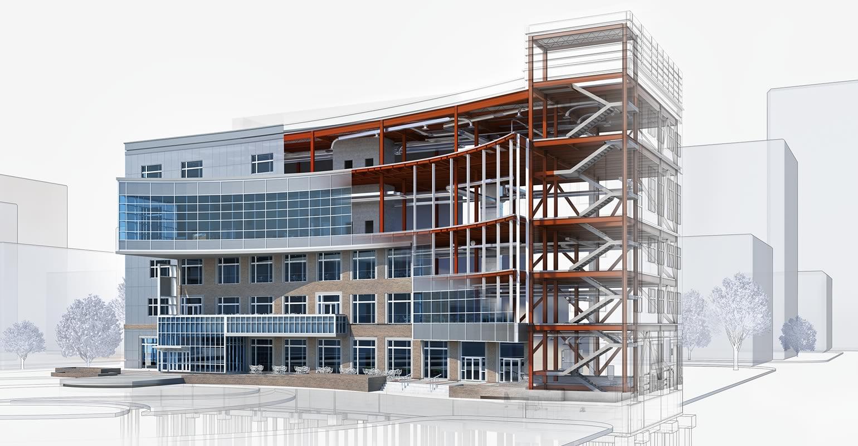 Imagem gráfica de um prédio, uma construção de cinco andares