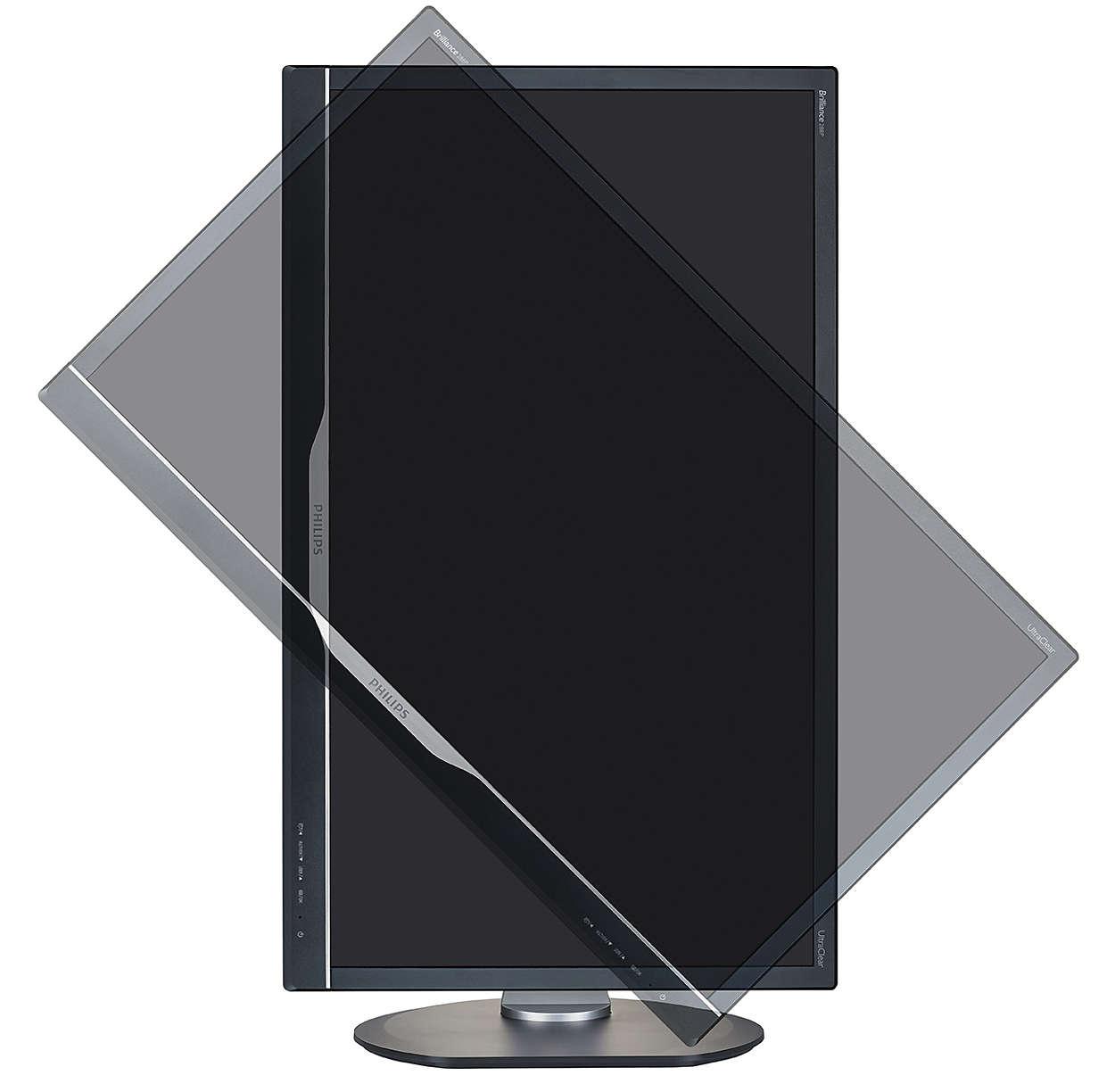 Imagem do monitor e da rotação da tela LCD