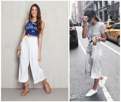 Imagem de duas modelos com exemplos de macacão pantacourt, como uma calça mais larga