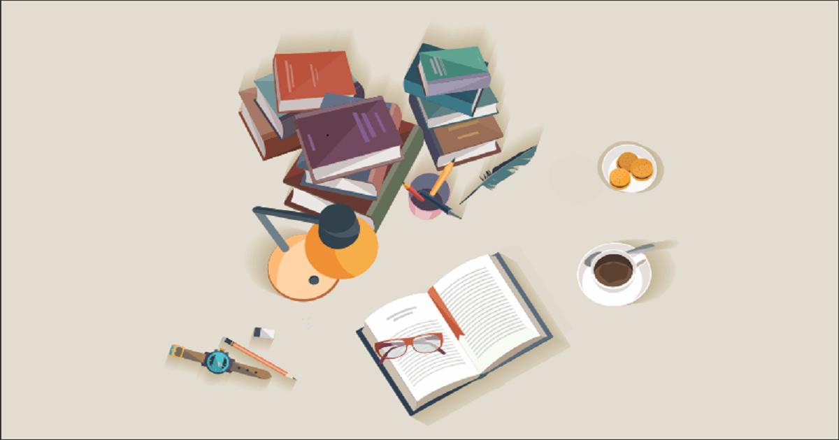 Imagem gráfica de livros, café e luminária, representando os estudos - concurso público para arquitetura